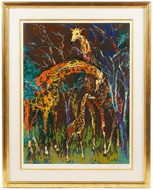 Leroy Neiman Serigraph 'Giraffe Family' 1974