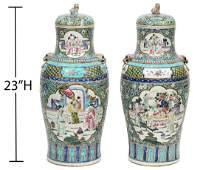 Pr Large Chinese Export Famille Rose Lidded Urns