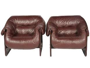 Pr. Percival Lafer Leather MP-091 Lounge Chairs