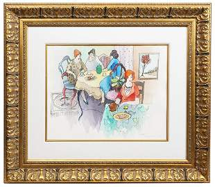 Tarkay Watercolor 'Ladies at Lunch' Gilt Frame