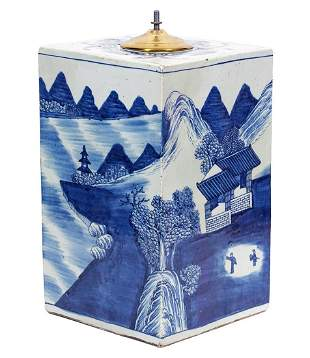Chinese Blue White Tea Caddy Lamp