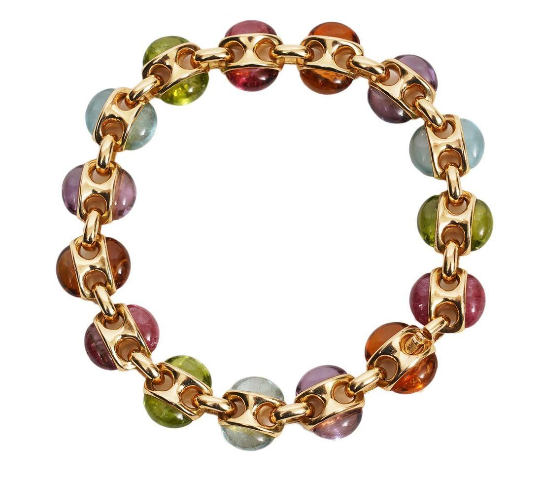 Contemporary Style 18K YG Multistone Link Bracelet