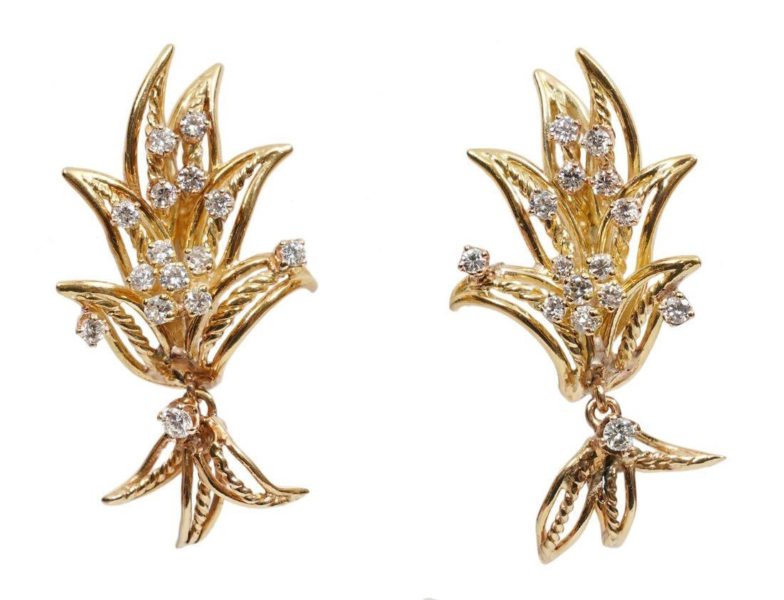 14K YG & Diamond Spray Articulated Earrings.