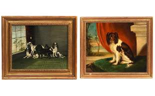 2 English School Paintings Interior Scenes W/ Dogs