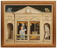 Neoclassical Oil Painting on Canvas C. 1960's