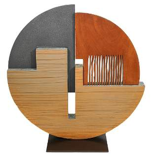 Pascal Pierme Metal & Wood Abstract Sculpture