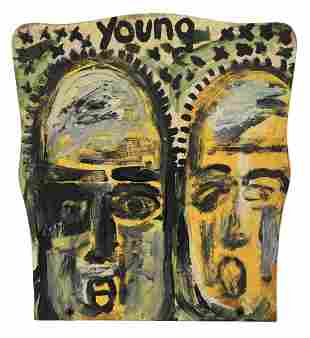 Purvis Young 'Two faces' Oil on Wood