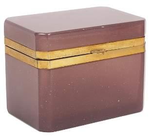Italian Murano Purple Bronze Mounted Glass Box