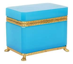 French Blue Glass Bronze Mounted Box