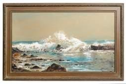 Edmund Darch Lewis Rocky Coastline Painting