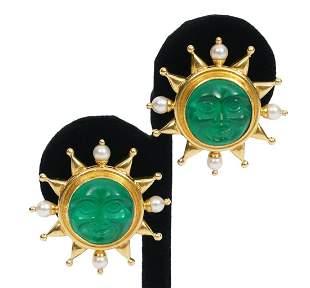 Pr. Elizabeth Locke 18K YG & Pearl Earrings