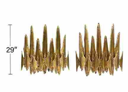 Pr. Tom Greene Brutalist Brass Wall Sconces