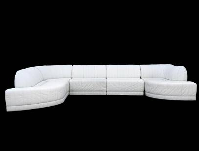 Vintage White Leather Roche Bobois Sectional Sofa