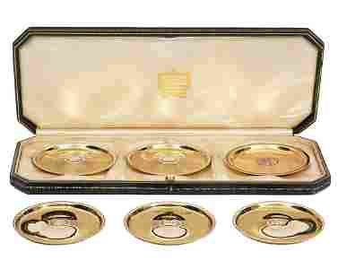 Six 14K YG Cartier Coasters in Leather Case
