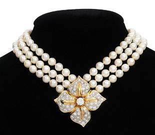 Triple Strand Pearl, Diamond & 14K YG Necklace