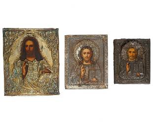 3 Russian Icons with Silver Tone Repousse Oklads
