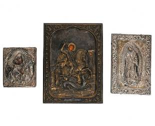 Group of 3 Silver Russian Icons