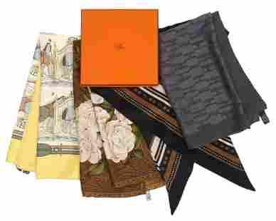2 Hermes & 2 Chanel Vintage Silk Scarves