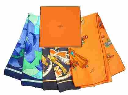 3 Hermes Paris Vintage Silk Scarves