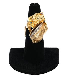 Diamond, Emerald & Ruby 14K YG Shell Design Ring