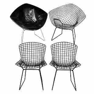 2 Bertoia Side Chairs & 2 Diamond Chairs