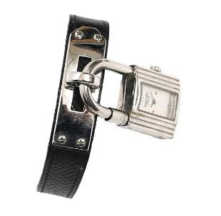 Hermes Kelly Lock Watch with Black Leather Band