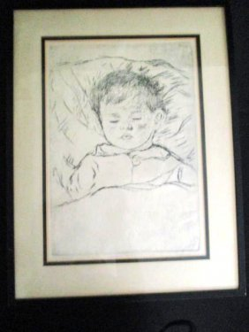 David Larry / Pencil Signed Etching / Sleeping Baby