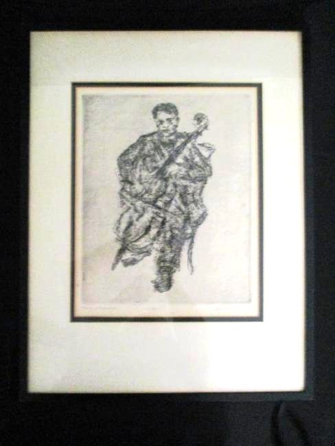 David Larry / Original Etching / The Cellist