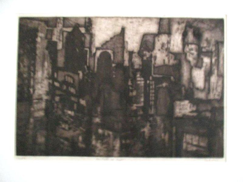 Earl Klein / Original Etching / New York At Night