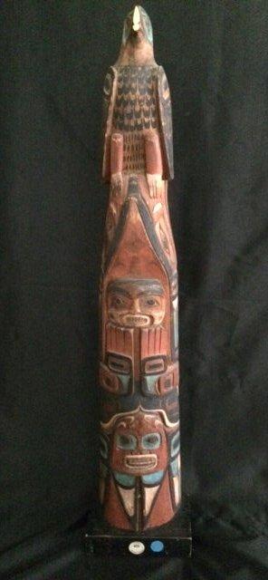 Northwest Coast Indian Hand Carved Totem Statue