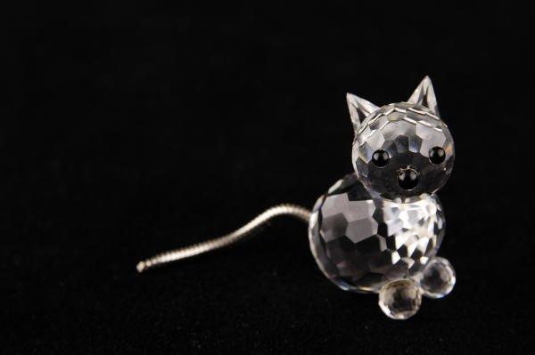 6: Swarovski Crystal Mini Cat with Wire Tail