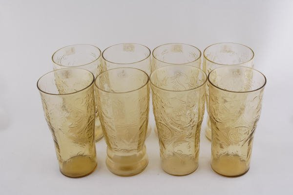278: 8 Depression Glass Amber Madrid 12 Ounce Tumblers