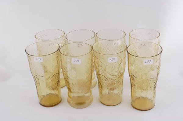 278: 8 Depression Glass Amber Madrid 12 Ounce Tumblers - 2