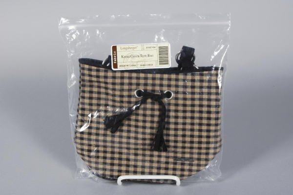 1004: Longaberger Khaki Check Sm Tote Bag Purse MIB