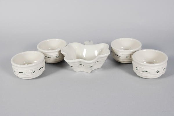 1016: 4 Longaberger Pottery WT Green Custard Cups