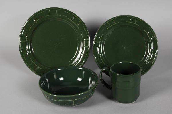 1017: Longaberger Pottery Ivy Green Mug, 2 Plates, Bowl