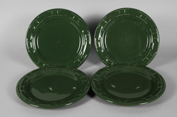 1021: 4 Longaberger Pottery Ivy Green Luncheon Plates