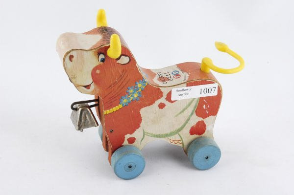 1007: 1959 Fisher Price Bossy Bell Cow #656 Pull Toy