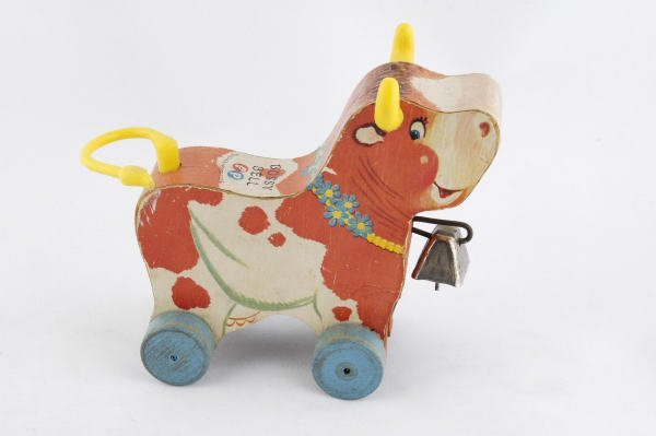 1007: 1959 Fisher Price Bossy Bell Cow #656 Pull Toy - 2