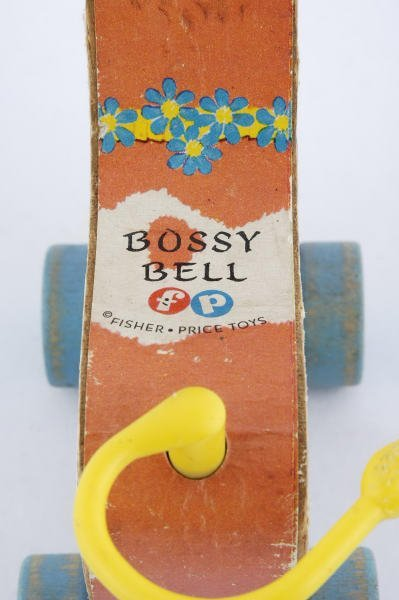 1007: 1959 Fisher Price Bossy Bell Cow #656 Pull Toy - 3
