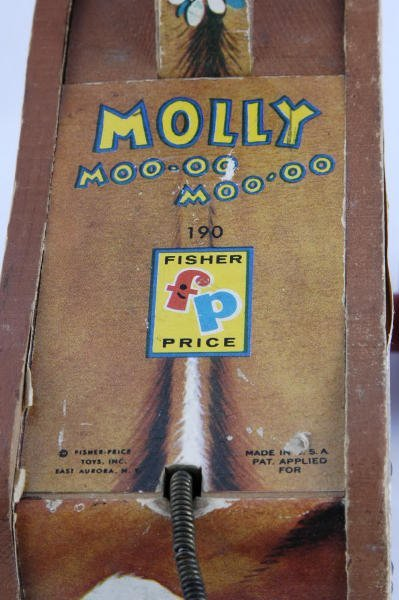 1009: 1956 Fisher Price Molly Moo-Moo Cow #190 Pull Toy - 3