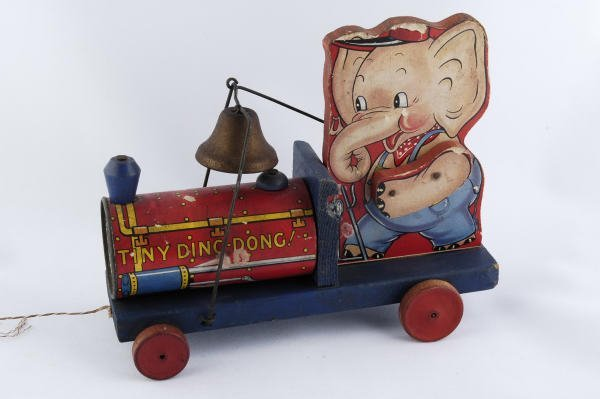1013: 1941 Fisher Price Tiny Ding Dong #767 Pull Toy