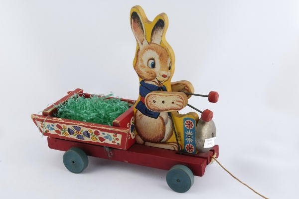 1016: 1954 Fisher Price Bunny Bell Cart #604 Pull Toy