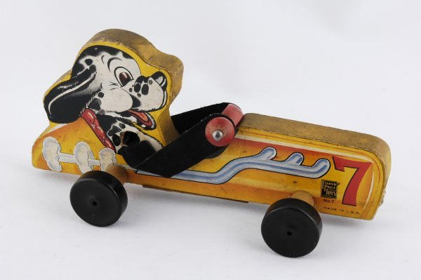 1017: 1942 Fisher Price Doggy Racer #7 Pull Toy