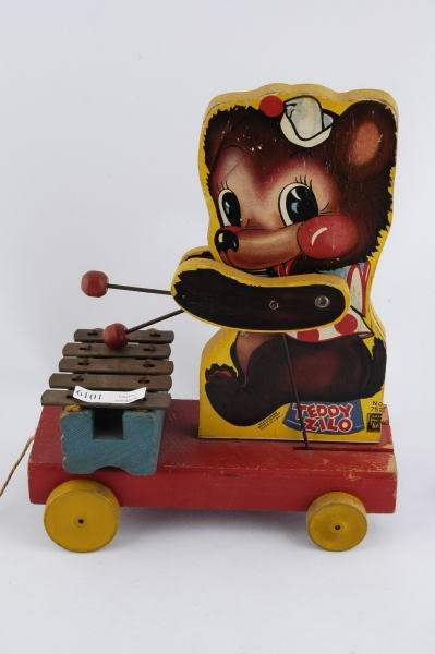 1019: 1946 Fisher Price Teddy Xylophone #752  Pull Toy - 2