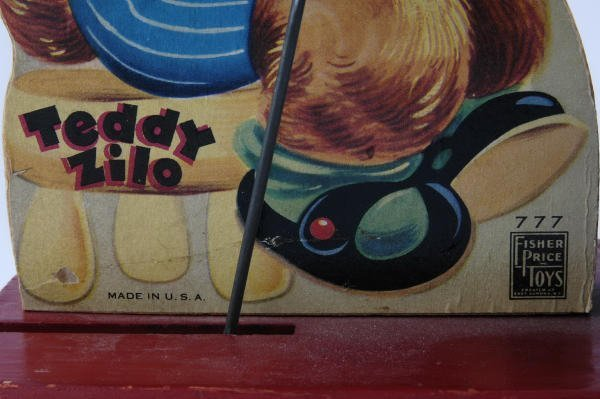 1020: 1950 Fisher Price Teddy Bear Zilo #777 Pull Toy - 3