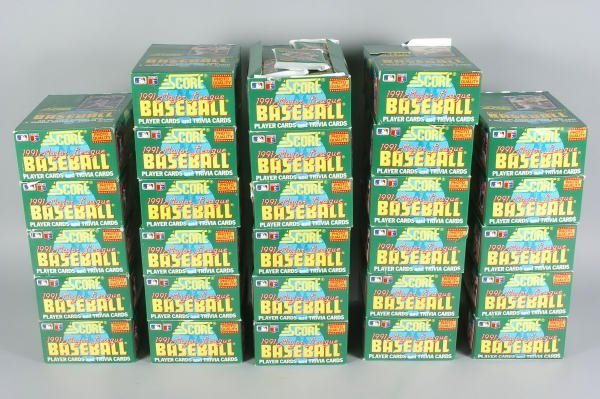 9: 29 Boxes of 1991 Score Baseball Cards