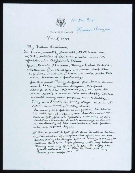 Ronald Reagan Autographed Alzheimer s Letter 1994