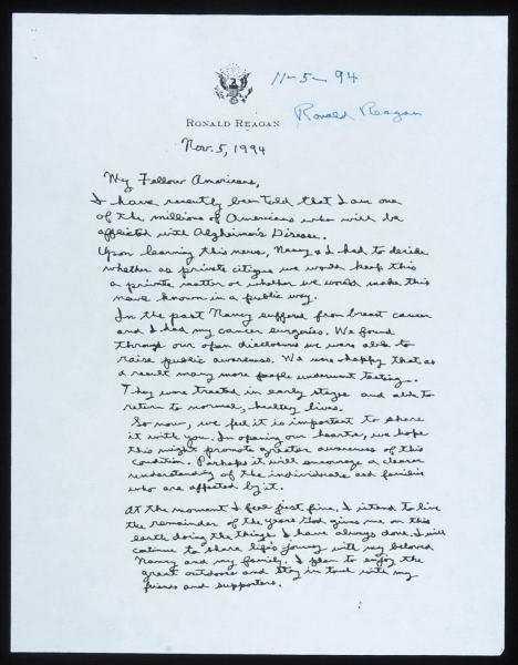 2 Ronald Reagan Autographed Alzheimer s Letter 1994