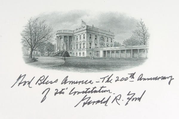 6: Gerald Ford Signed White House Vignette Card 1987